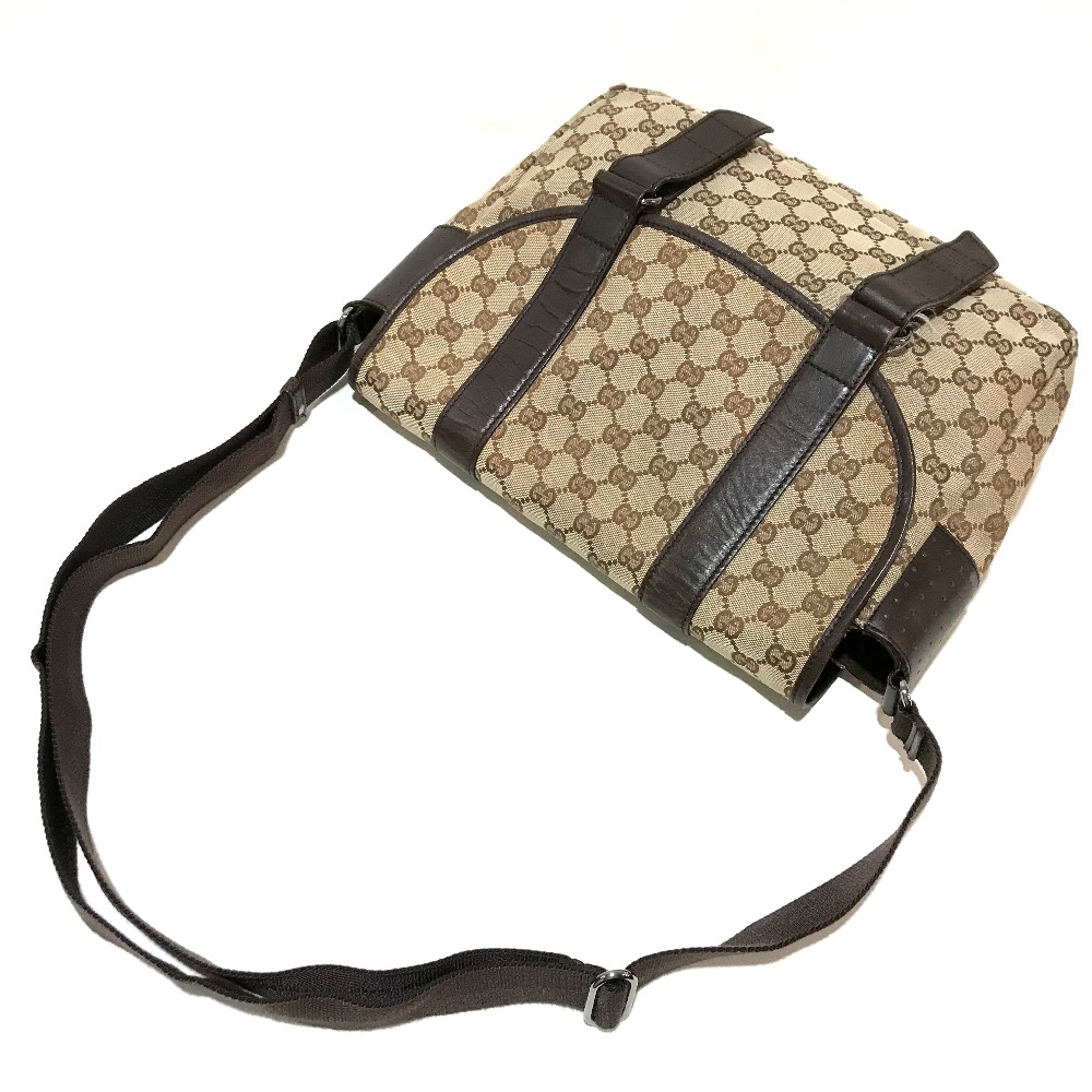 fa697e7ad ... AUTHENTIC GUCCI Messenger bag Crossbody bag Men's Women's Shoulder bag  Beige x brown Punching Leather/ ...
