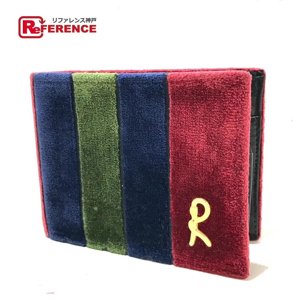 Roberta di Camerino ロベルタ・ディ・カメリーノ 短財布 がま口 二つ折り財布(小銭入れあり) ベロア レッド×ネイビー×グリーン レディース【中古】