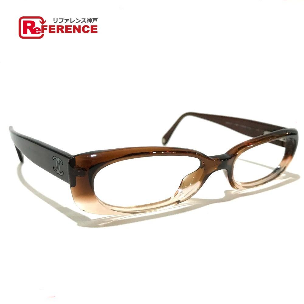 CHANEL シャネル 伊達メガネ フレーム CC ココマーク 眼鏡 プラスチック ブラウン系 レディース【中古】