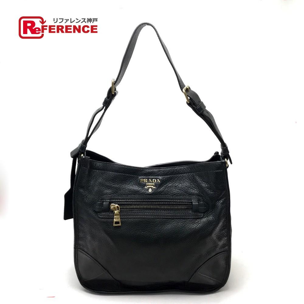 6ed3a16c AUTHENTIC PRADA Men's Women's CERVO Cervo Shoulder Messenger bag Shoulder  bag Black Leather BR4737