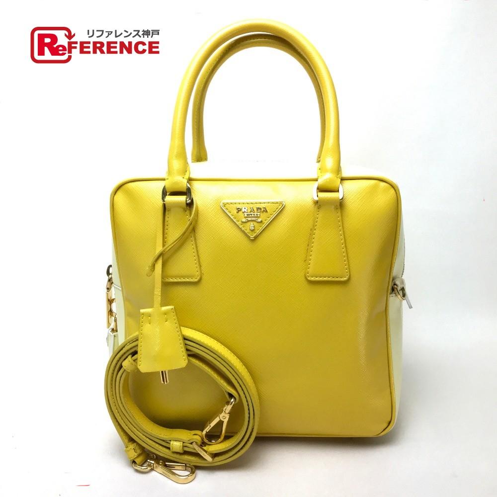 278c9173ab7772 AUTHENTIC PRADA Bicolor Safiano Berniche Shoulder Bag Hand Bag 2way bag  yellow/White Leather BL0864