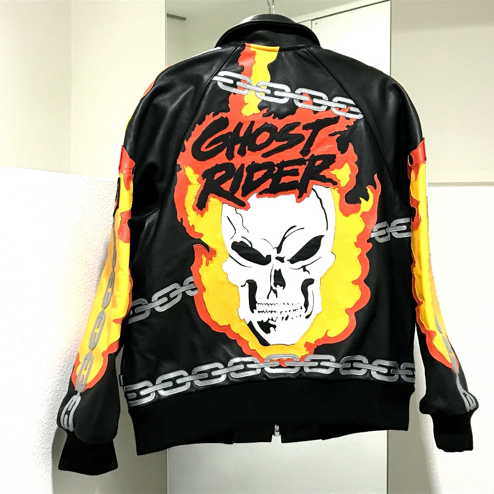 AUTHENTIC Supreme Unused Supreme x Banson Leathers Ghost Rider Jacket Ghost  rider Riders Jacket Blackxmulticolore Leather