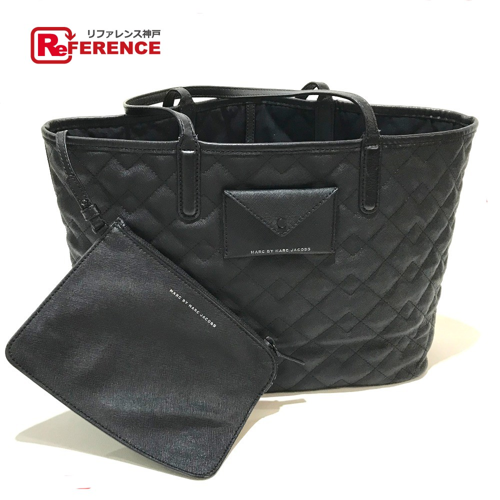 aa706bef98143 AUTHENTIC MARC BY MARC JACOBS With pouch Quilted Shoulder bag Tote bag Black  PVC x Leather ...