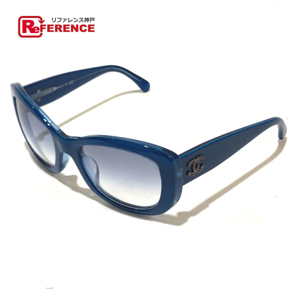 bd27d01f97 AUTHENTIC CHANEL CC Coco Fashion Accessories Men's Women's sunglasses blue  Plastic 5239-A