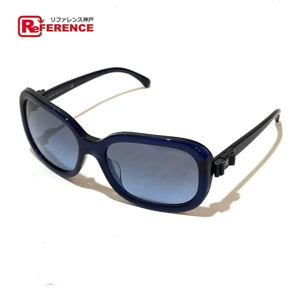 CHANEL シャネル 5280-Q-A メンズ レディース ファッション小物 リボンモチーフ サングラス プラスチック ブルー ユニセックス【中古】