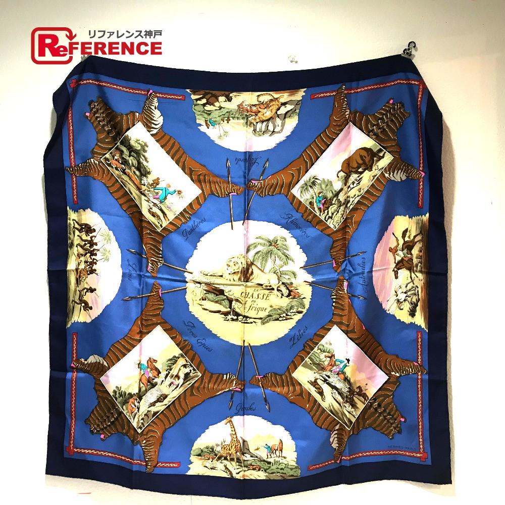 HERMES エルメス シルクスカーフ カレ90 LA CHASSE en Afrique(アフリカのハント) タグ有り スカーフ シルク マルチカラー レディース【中古】