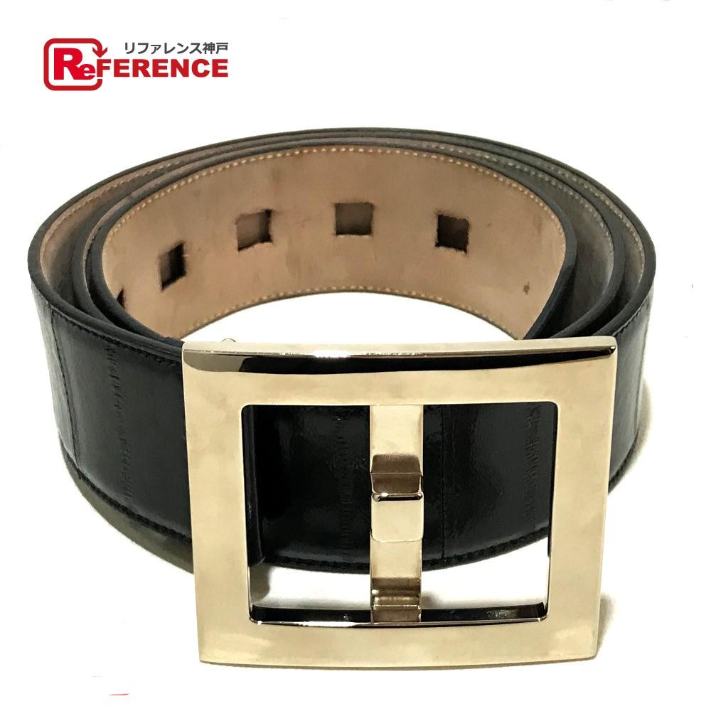 4f1913712ec AUTHENTIC DOLCE&GABBANA Men's accessories Square buckle belt Black Suede  xLeather/ BC2370 ...
