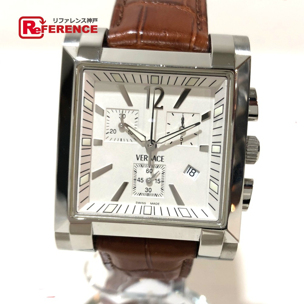 e02f78b2bff AUTHENTIC VERSACE Chronograph Men s Watch Character Date Wristwatch Silver  x brown SS x leather belt FLC99