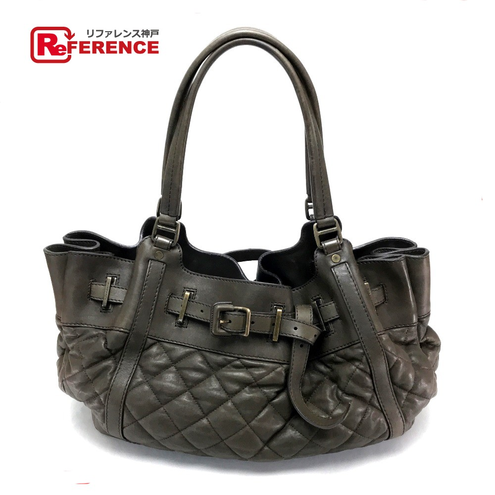 Authentic Burberry Men S Women Quilted Leather Shoulder Bag Tote Brown Lamb