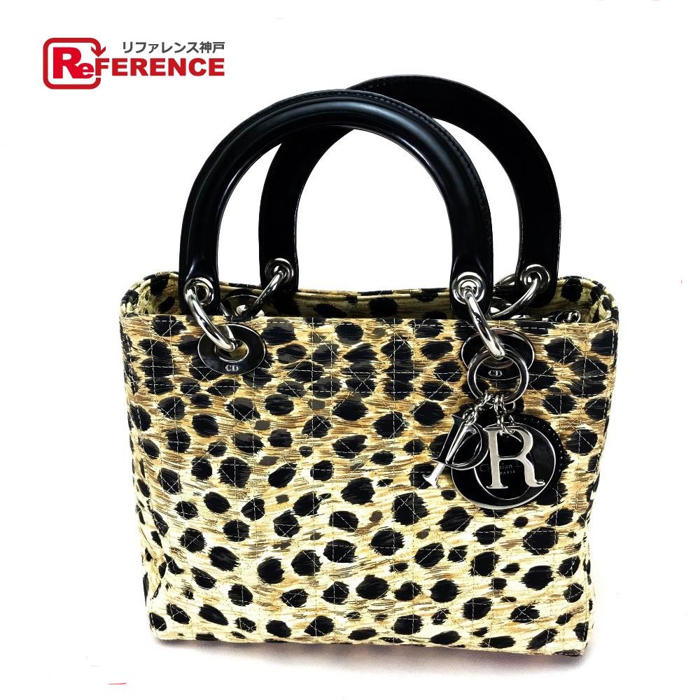 e31c480e721a AUTHENTIC Christian Dior Cannage leopard leopard Lady-CHRISTIAN DIOR Mini  Bag Hand bag Brownbased/ ...