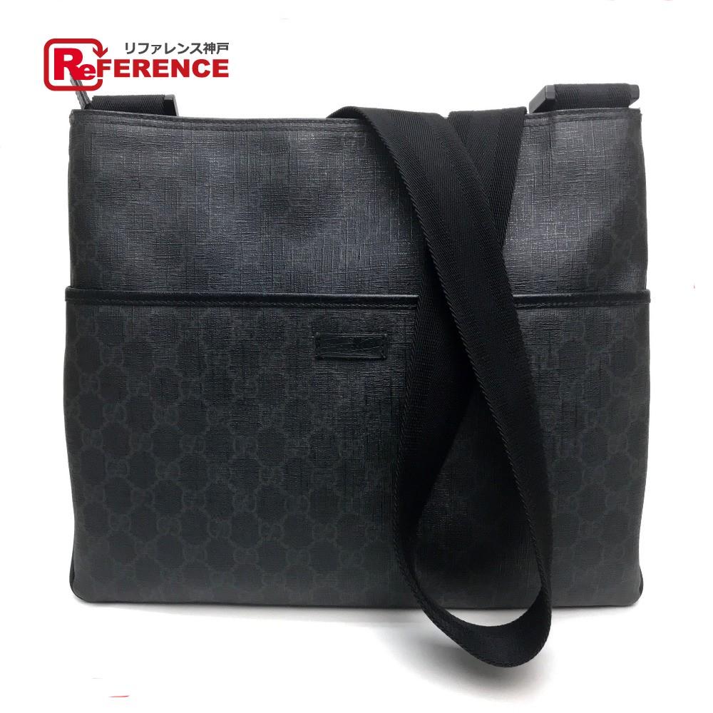 efb42ed390e907 AUTHENTIC GUCCI Men's Women's GG Supreme Shoulder bag Black PVC x Leather/  162904 ...