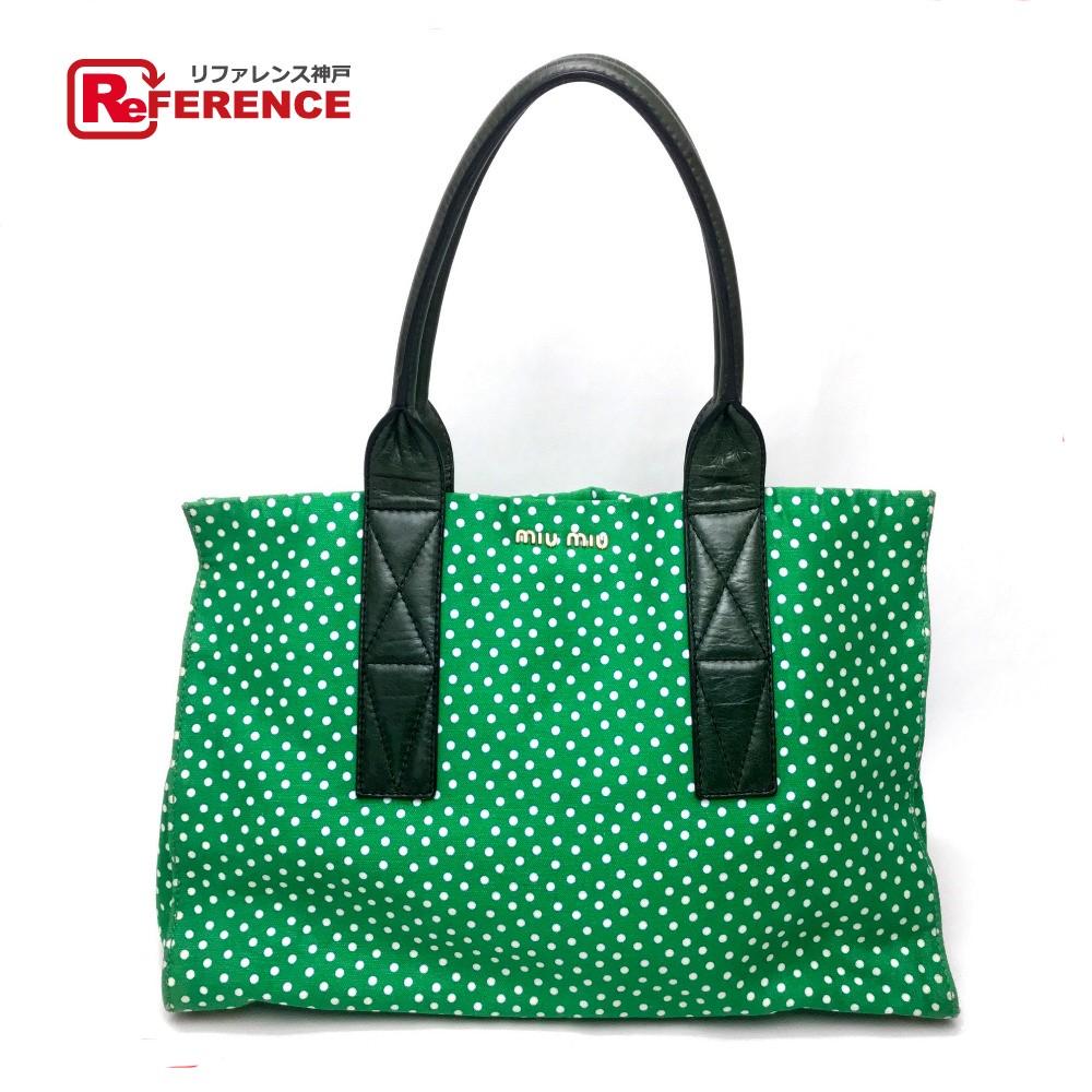 AUTHENTIC MIUMIU Dot pattern Polka dot Tote bag Shoulder bag Canvas/Leather