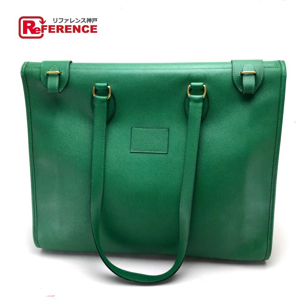 edc4bca6fea4 AUTHENTIC HERMES Men s Women s Cabas 40 Shoulder Bag Shoulder Bag Tote bag  Green Courchevel