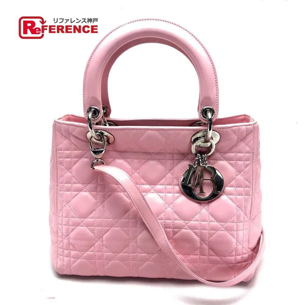 86a9121373 AUTHENTIC Dior Cannage Lady-CHRISTIAN DIOR Hand Bag Shoulder Bag 2way bag  pink Lambskin leather ...