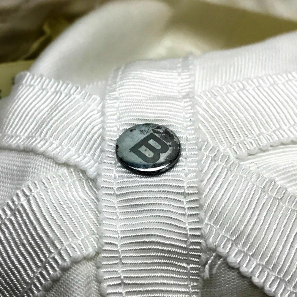 25c6ad30 ... AUTHENTIC BALENCIAGA Men's Women's Classic baseball cap Logo embroidery  hat White cotton/ 452245