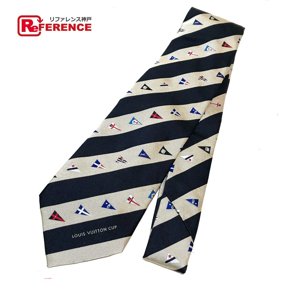 f9b113b912a5 AUTHENTIC LOUIS VUITTON Unused With tag LV cup stripe Business item Necktie  Navy x Champagne GoldBased ...