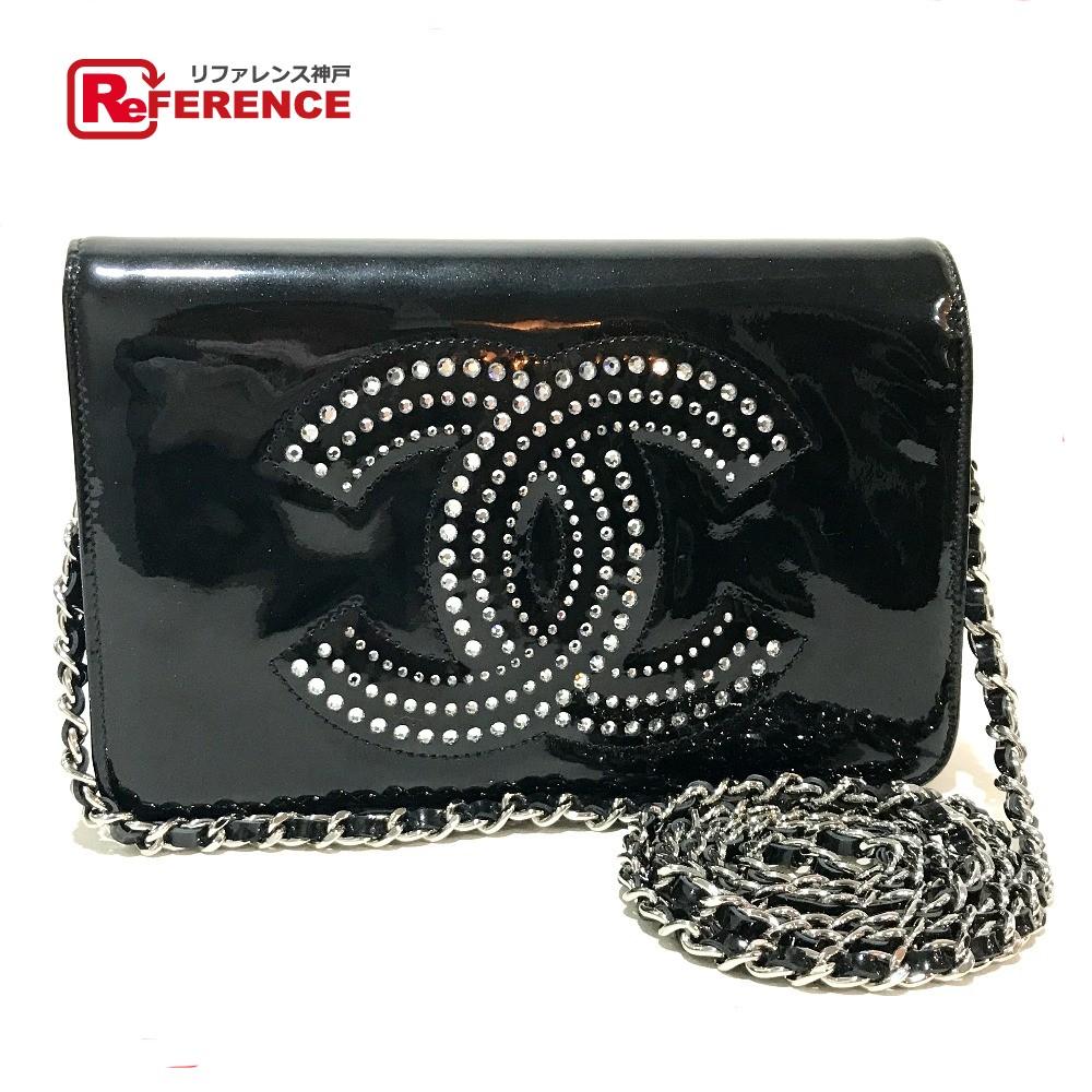 88ded620c6cdc5 BRANDSHOP REFERENCE: AUTHENTIC CHANEL Strass CC Wallet bag Chain wallet  Shoulder bag Black Patent Leather A48115 | Rakuten Global Market