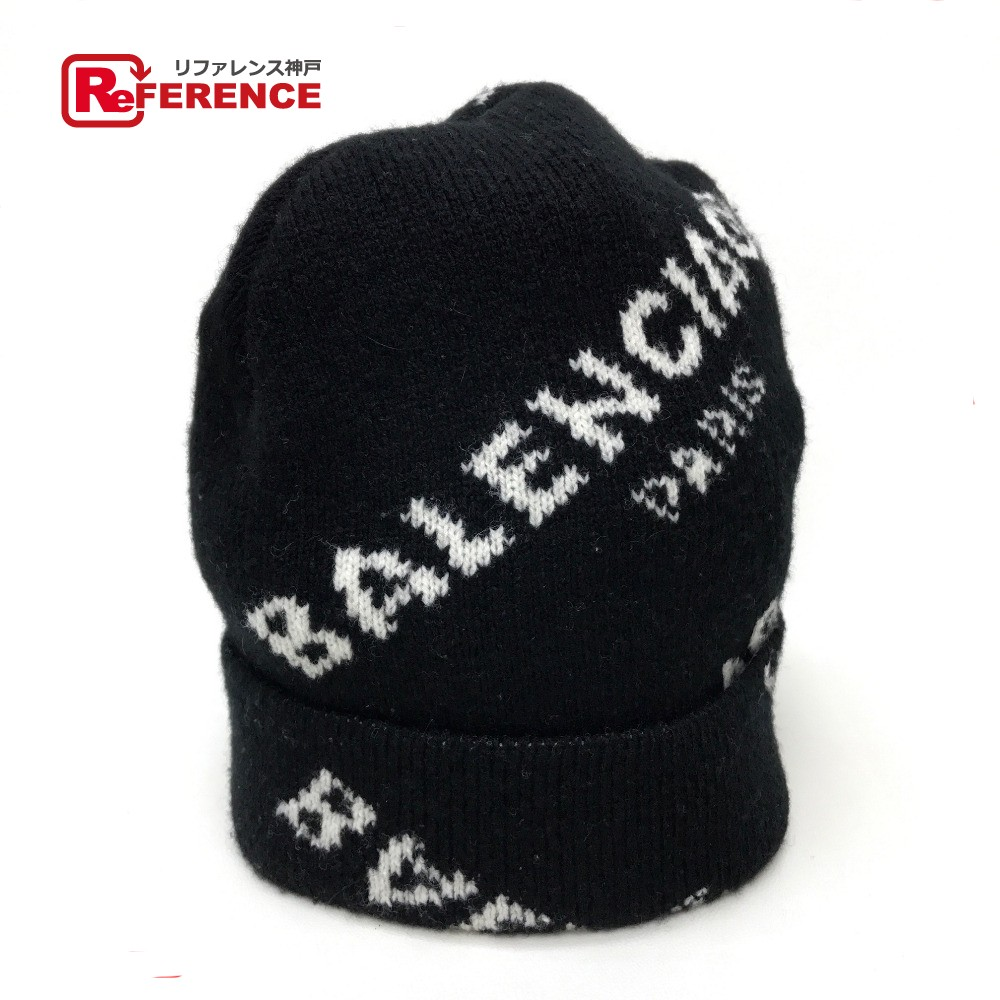 9c3dd1ed AUTHENTIC BALENCIAGA 2017 AW Men's Women's Jacquard logo beanie Knit cap  Knit cap hat Black/ ...
