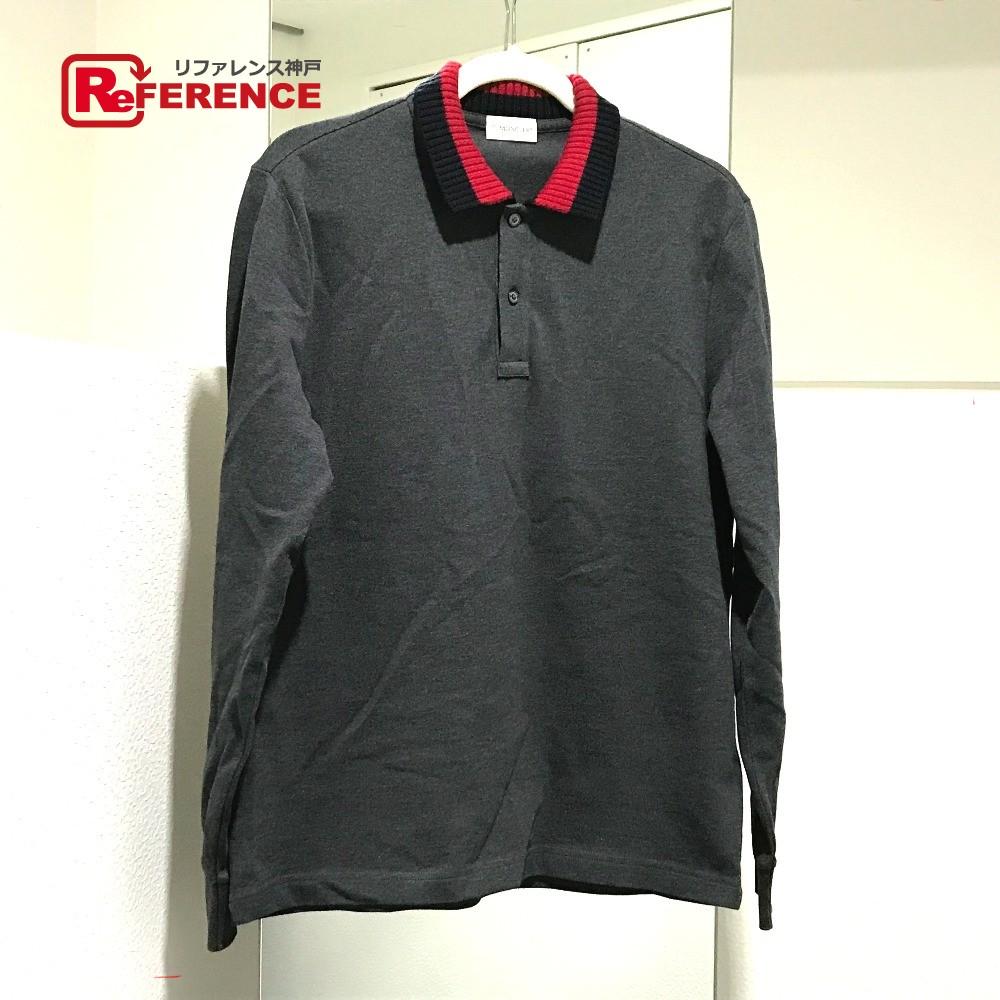 be75343c5 AUTHENTIC MONCLER apparel Sleeve logo Rib collar Long sleeve Polo shirt gray