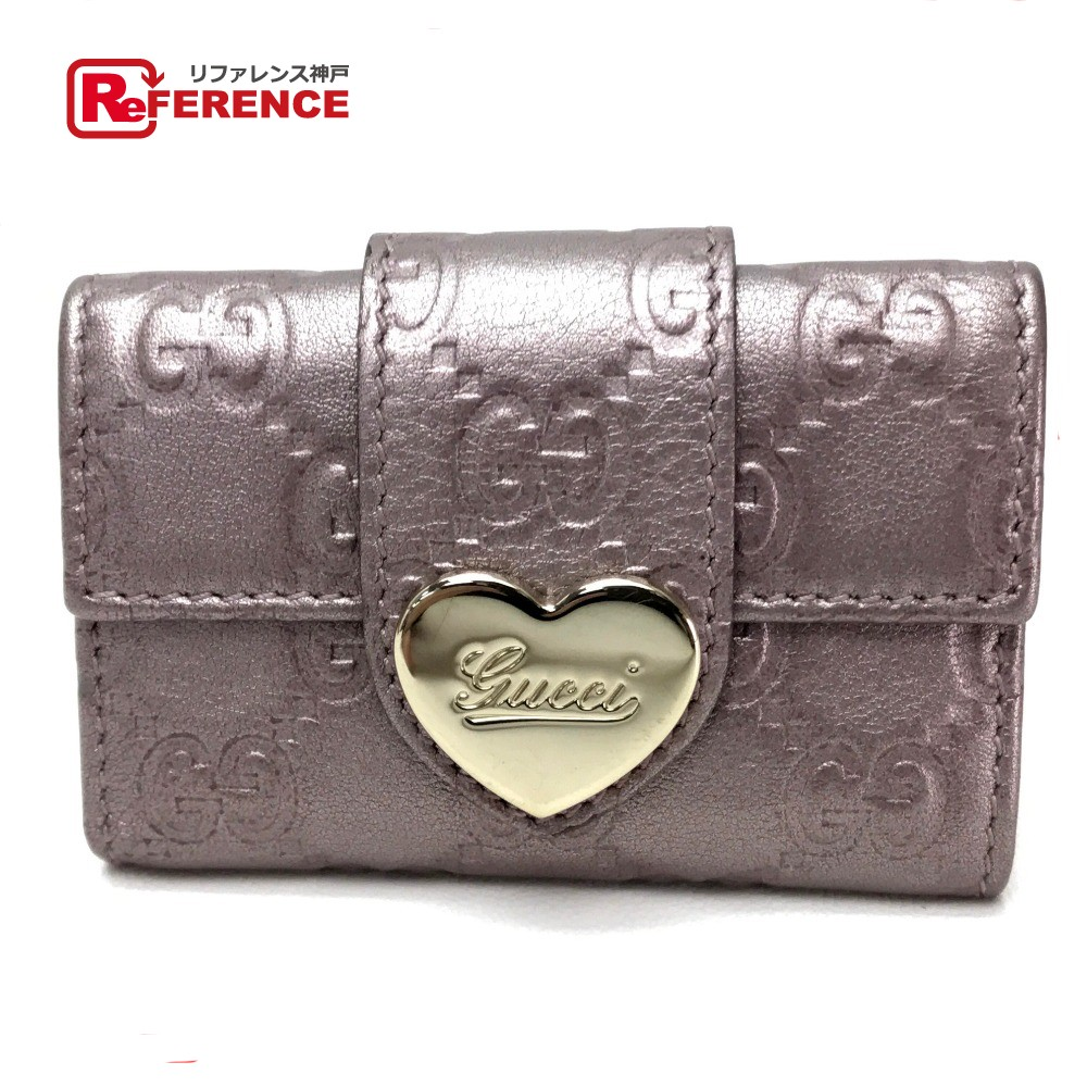 940720309 AUTHENTIC GUCCI Guccissima HEART (Heart) 6-Ring Key Case Morve Leather  203551 ...