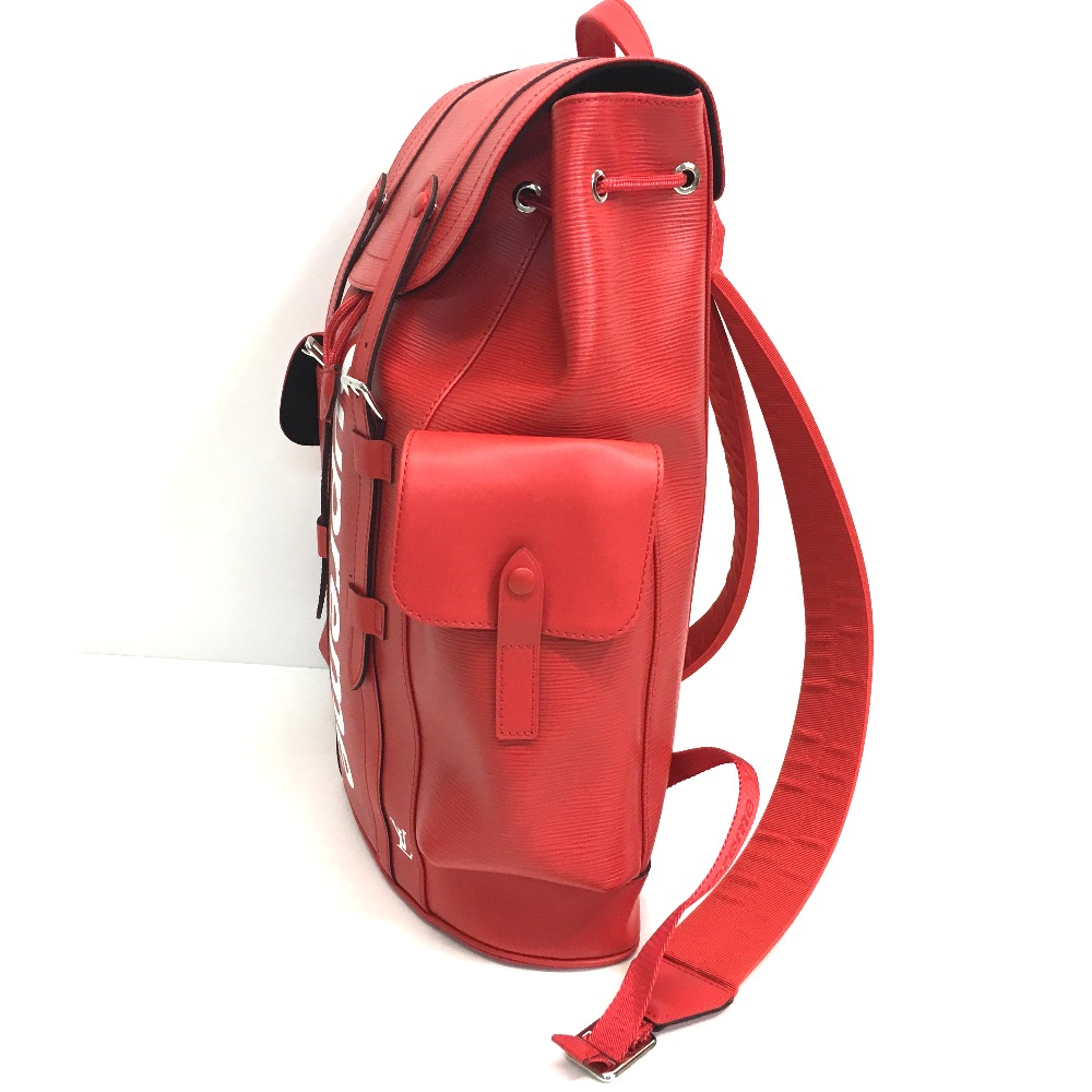 Vuitton Louis X Supreme Epi Christopher Pm Backpack 17aw Red Bag Leather M53414