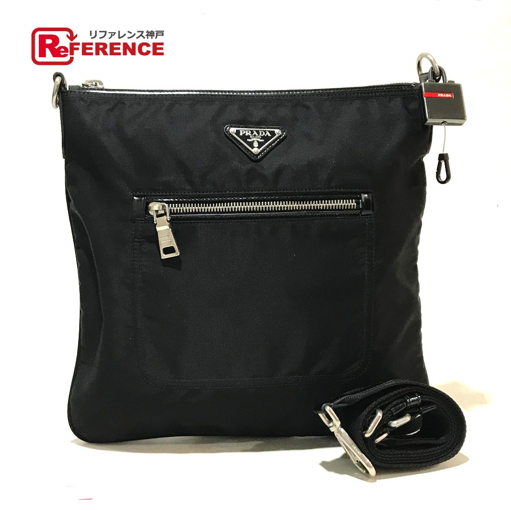 c4ab1169a4a5d AUTHENTIC PRADA With key hook Logo Plate Crossbody Shoulder Bag Black Nylon  BT0715