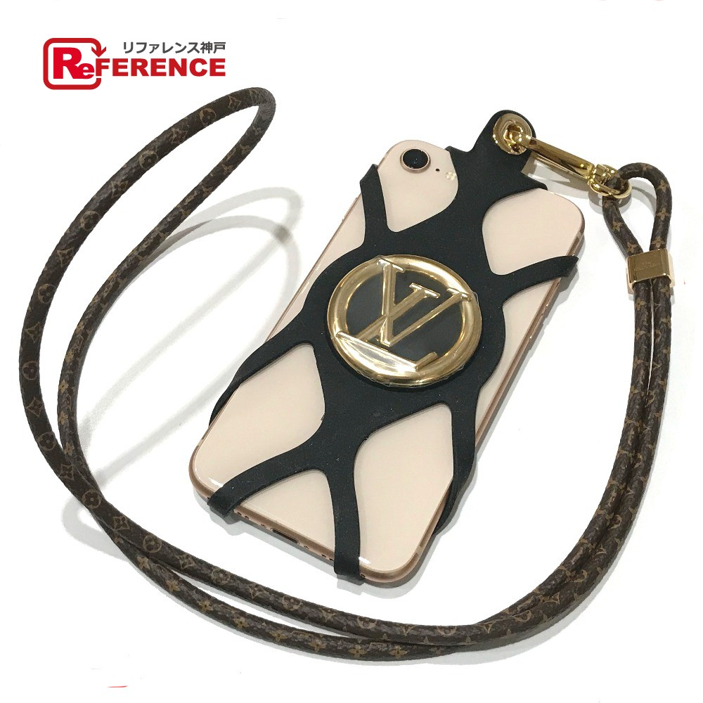 new product 01946 e52a7 AUTHENTIC LOUIS VUITTON LV circle Phone holder-Louise Neck with Strap  Smartphone Holder Smartphone case Brown x Black/GoldHardware ...
