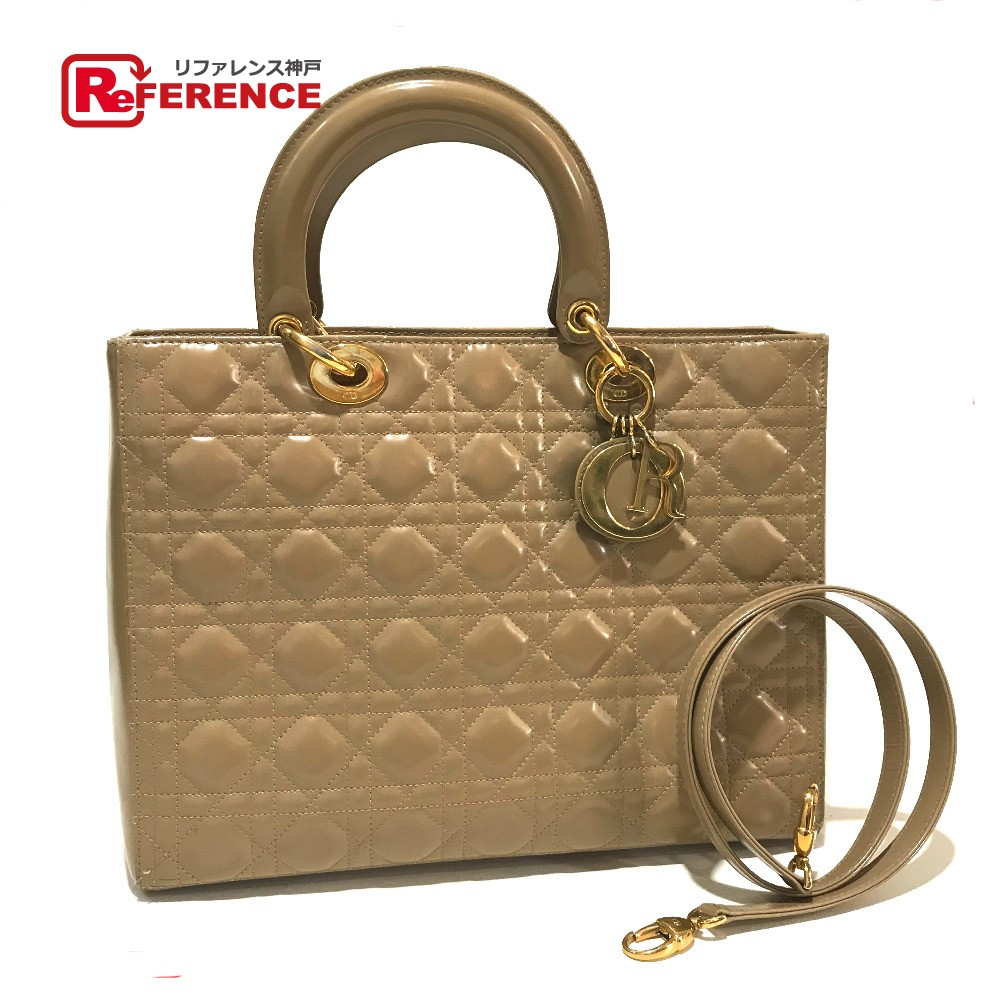 02f6565d Handbag patent leather beige Lady's with the Christian Dior Christian Dior  2WAY shoulder bag lady Dior logos trap