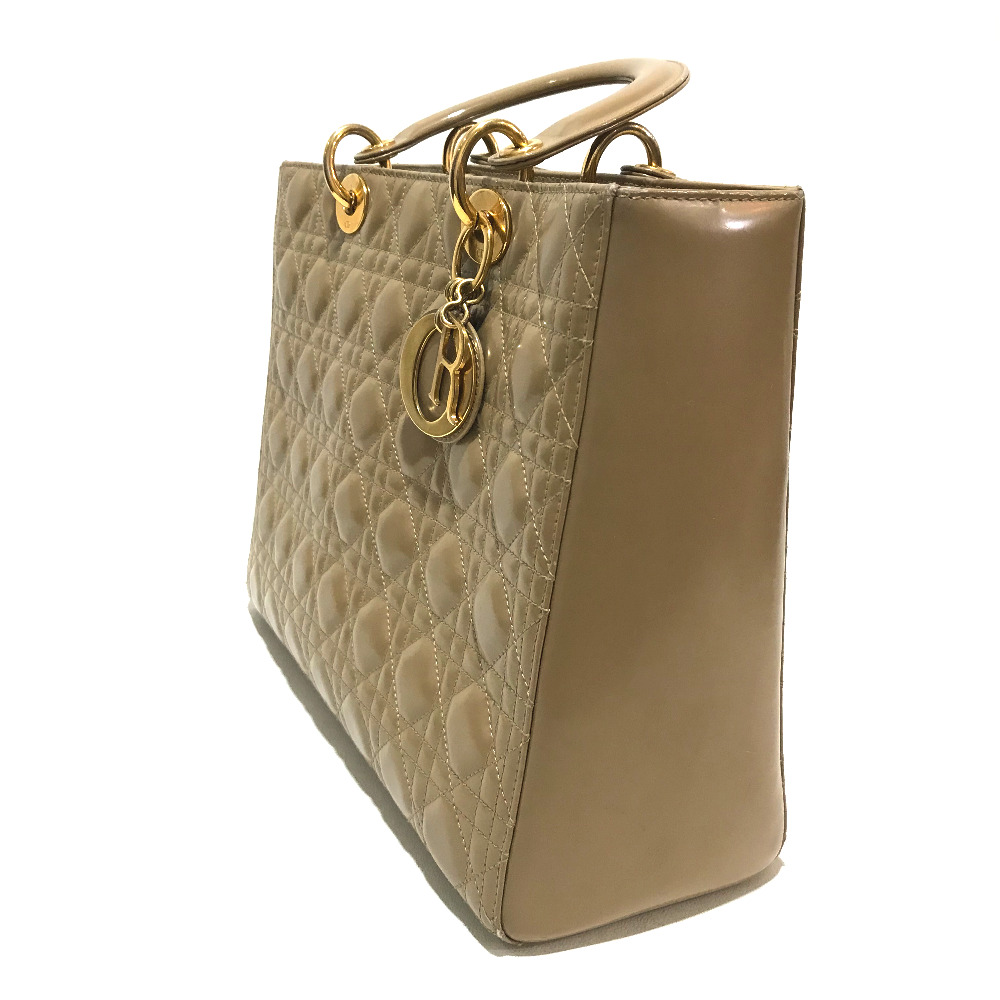 b5c7dc7e4 ... Handbag patent leather beige Lady's with the Christian Dior Christian  Dior 2WAY shoulder bag lady Dior ...