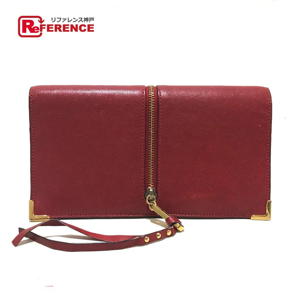 Chloe クロエ 3P0076 長財布 ゴースト ファスナーストラップ 二つ折り財布(小銭入れあり) レザー レッド レディース【中古】