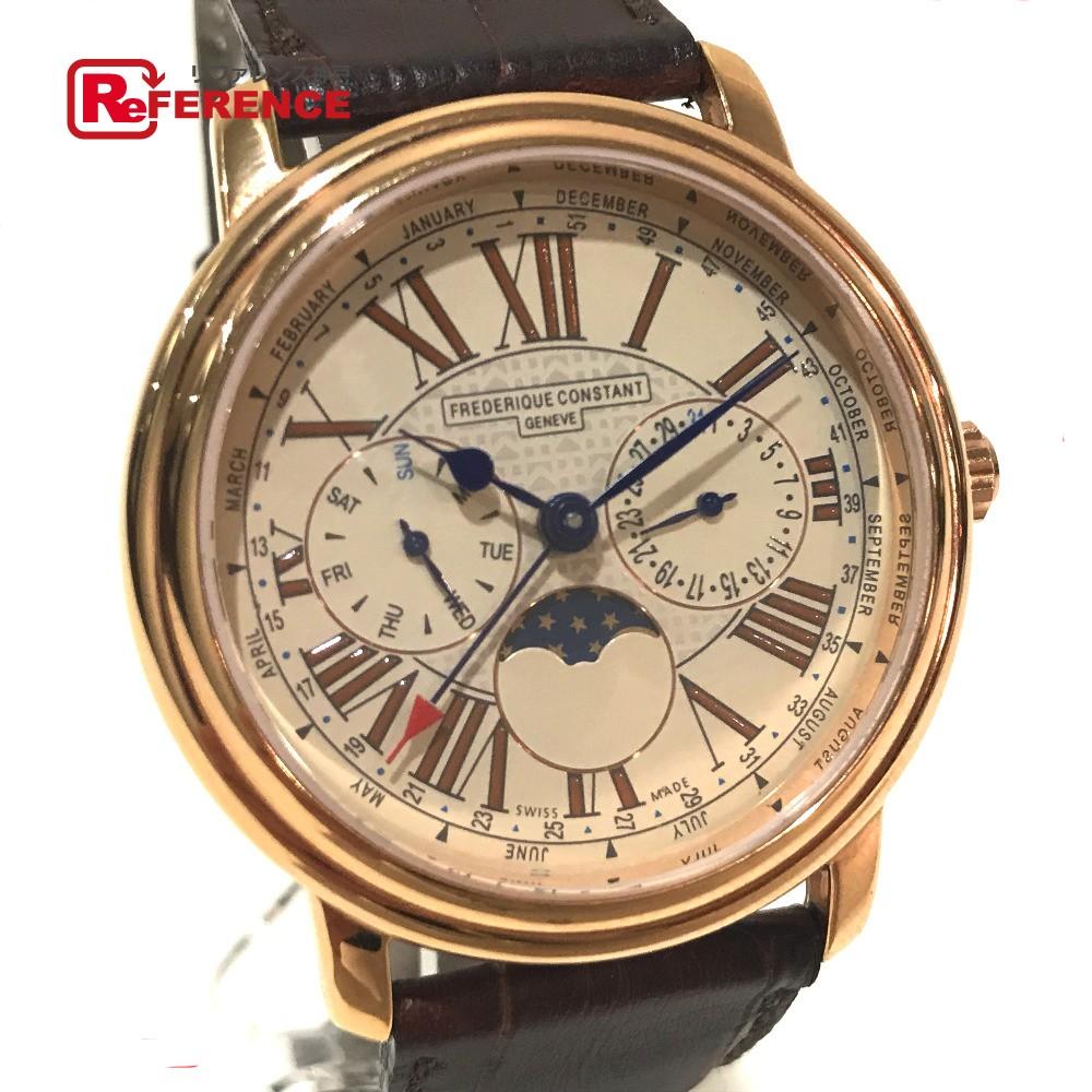 FREDERIQUE CONSTANT フレデリック・コンスタント メンズ腕時計 パスエイション フルカレンダー ムーンフェイズ 腕時計 GP/革ベルト ゴールド メンズ【中古】