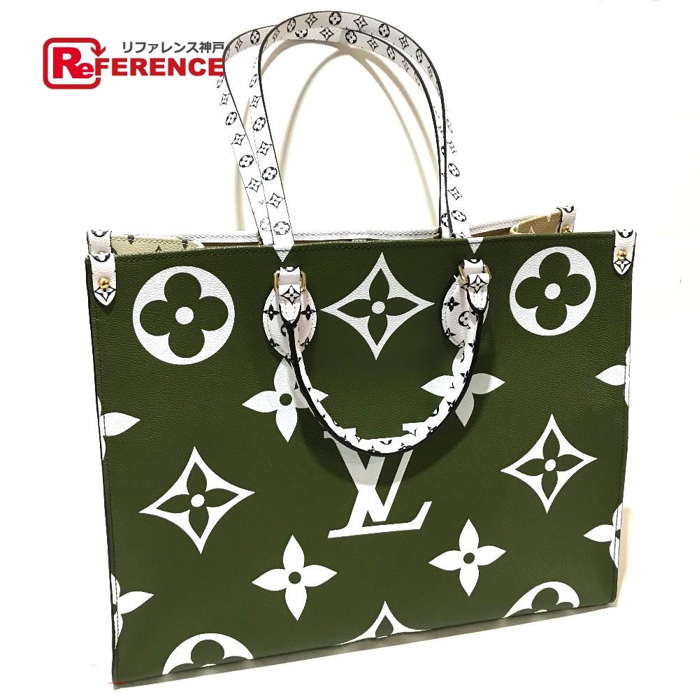 58ac5cc6f3 LOUIS VUITTON Louis Vuitton M44571 2WAY shoulder bag on the go giant  monogram tote bag monogram canvas objection khaki / beige / white lady's  like-new ...