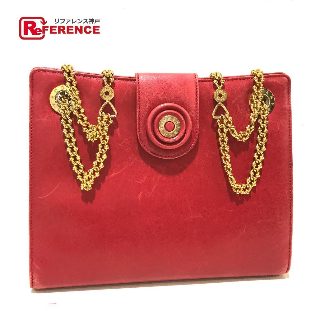 022f970cef Tiffany pochette chain shoulder logo vintage shoulder bag leather red  Lady's ...