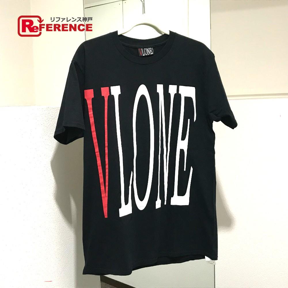 VLONE ヴィローン REVERSIBLE LOGO TEE リバーシブル Tシャツ タグ有 ロゴ プリント 半袖Tシャツ コットン ブラック メンズ【中古】