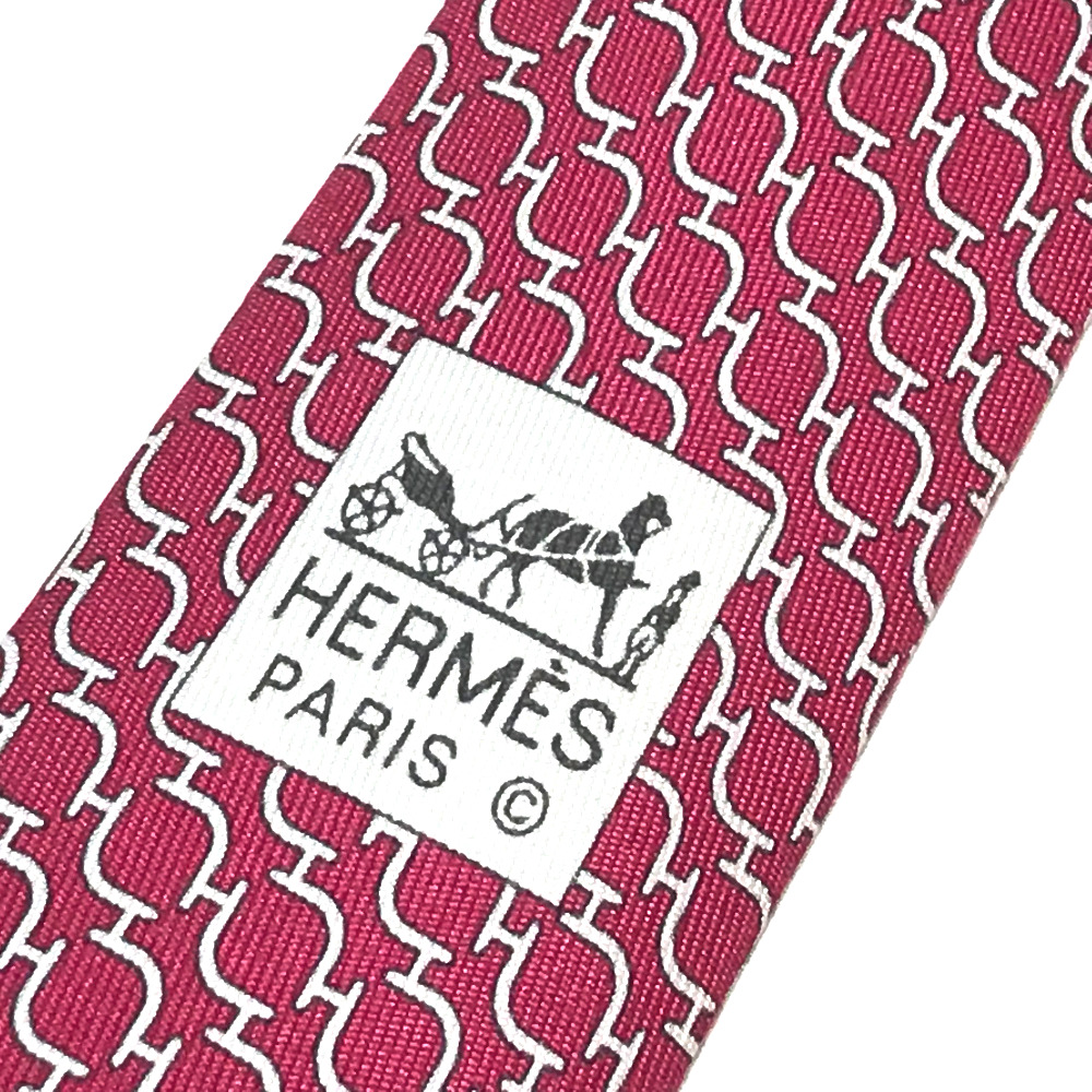 a32052a16f61 ... HERMES Hermes business item whole pattern fashion accessory tie silk  100% red system men ...