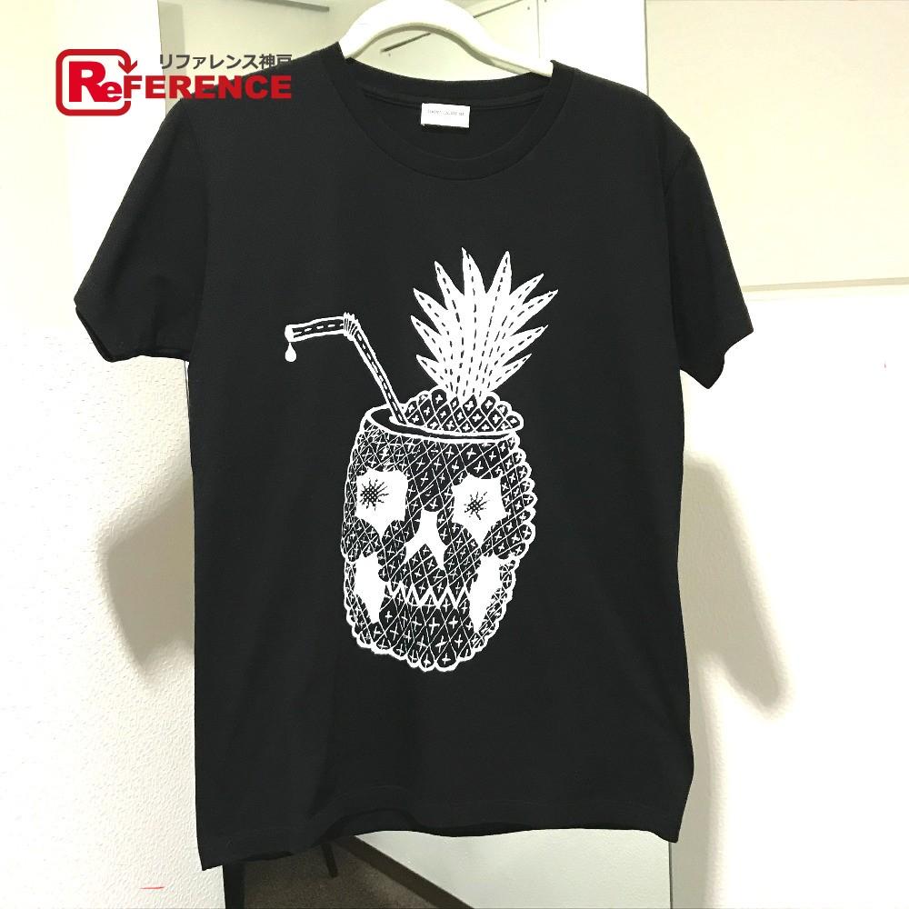 SAINT LAURENT PARIS サンローランパリ 14SS Pineapple Skull T-Shirt タグ有 パイナップルスカル 半袖Tシャツ コットン ブラック メンズ【中古】