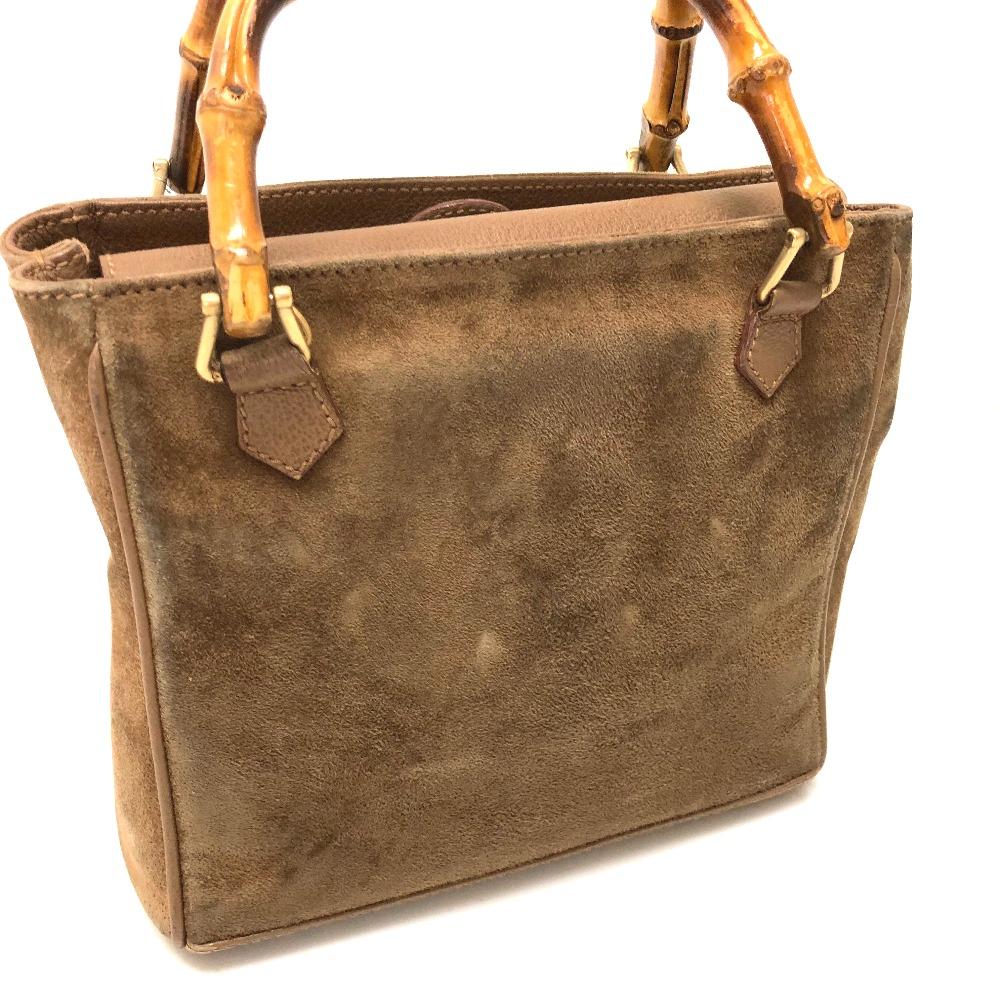 30b689645 ... GUCCI Gucci 000.122.0316 shoulder bag old Gucci 2WAY bag handbag suede  X leather brown ...