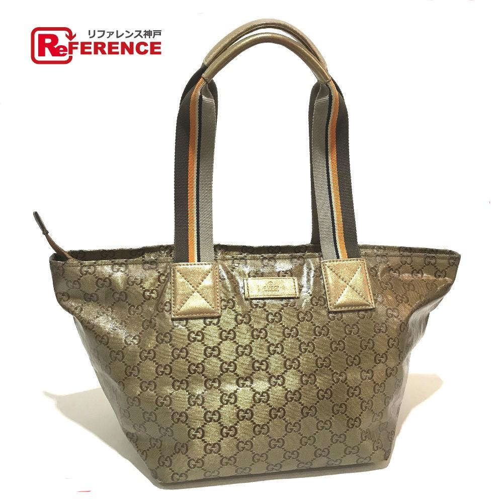 131230 gucci gucci 131230 tote bag crystal gg shoulder bag crystal gold x dark  brown lady's