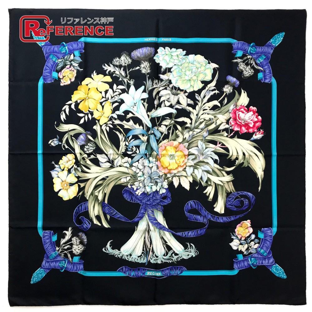 HERMES エルメス カレ90 Regina (女王陛下) メンズ レディース スカーフ シルク ブラック レディース【中古】