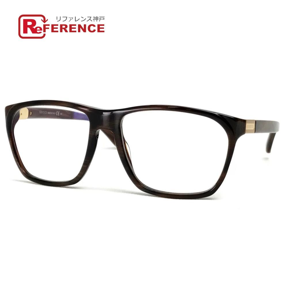 GUCCI グッチ GG1005 メガネフレーム メンズ レディース 眼鏡 プラスチック ブラウン ユニセックス【中古】