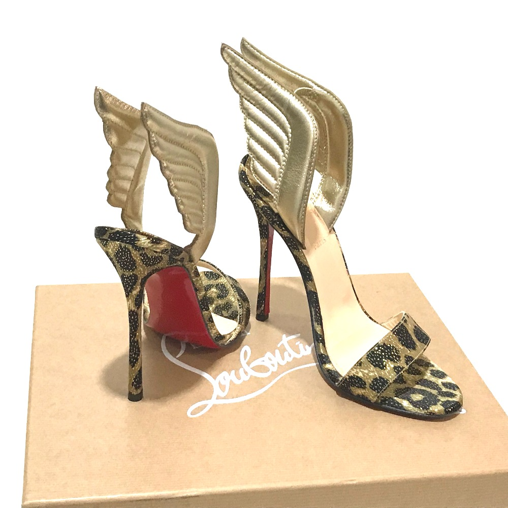 AUTHENTIC Christian Louboutin apparel Samotores leopard pony look High heels pumps GoldBased x BrownBased Leather 3160397 8