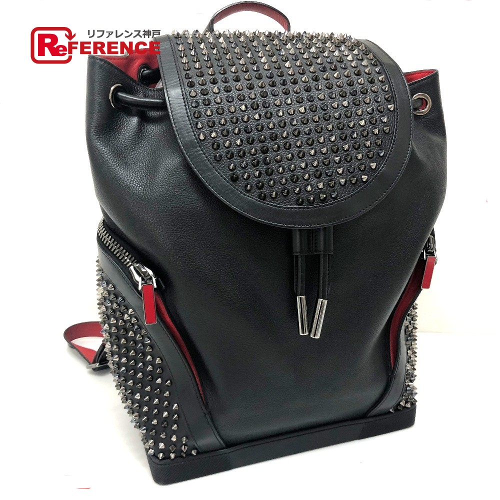 a09f49a8865 Christian Louboutin クリスチャンルブタン 1165167 rucksack backpack Explorer funk  spikes studs rucksack day pack leather / black Lady's