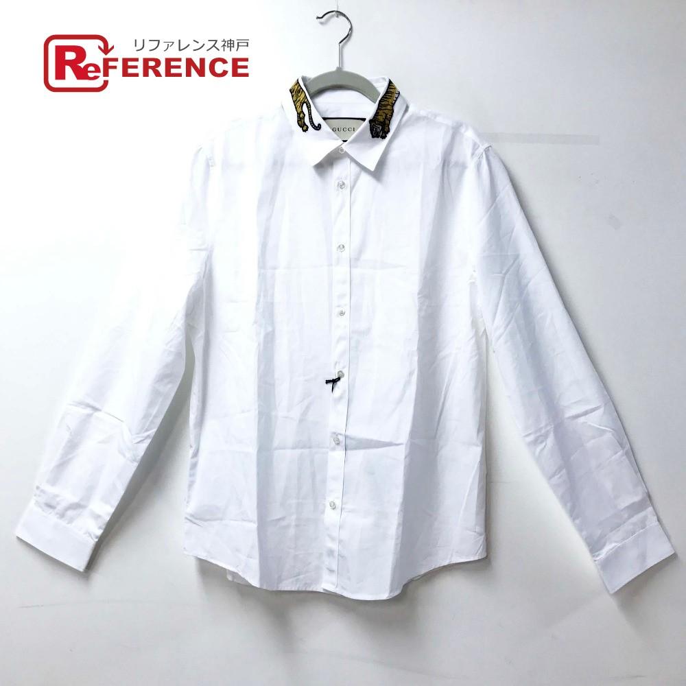 GUCCI グッチ 456706 Yシャツ トップス  ワイシャツ タイガー アップリケ DUKE 長袖シャツ コットン ホワイト メンズ 未使用【中古】