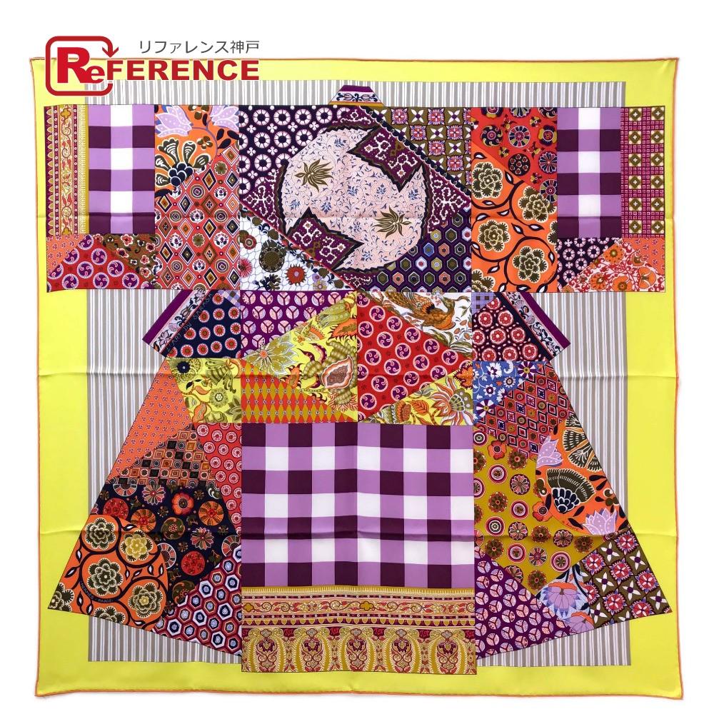 HERMES エルメス カレ90 L Art du Sarasa (更紗のアート)  スカーフ シルク イエロー系 ユニセックス 未使用【中古】