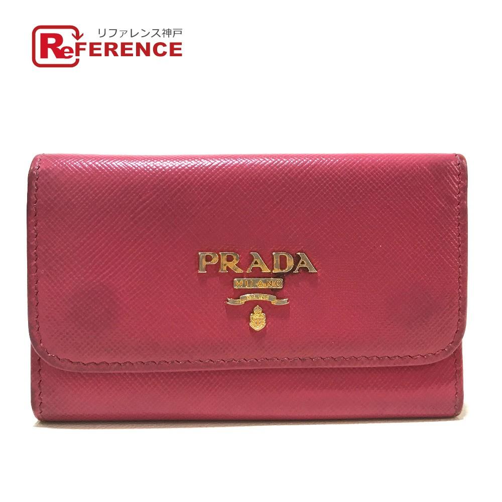 PRADA プラダ 1PG222 ファッション小物 ロゴ 6連 キーケース サフィアーノレザー ピンク レディース【中古】
