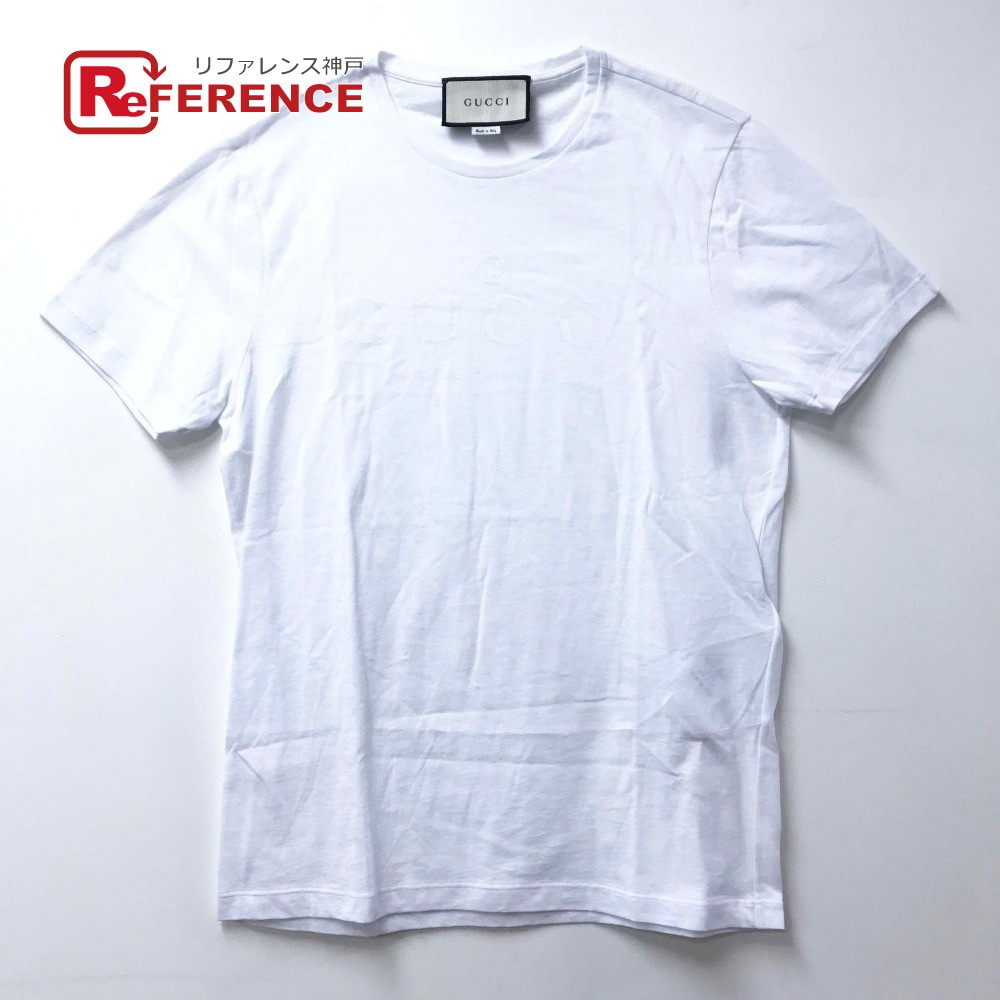 GUCCI グッチ 441685  トップス ロゴプリント 半袖Tシャツ コットン ホワイト メンズ【中古】
