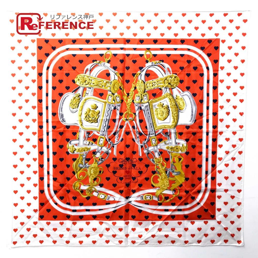 HERMES エルメス カレ90 Brides de Gala Love (ブリッド・ドゥ・ガラ・ラヴ) スカーフ シルク オレンジ レディース【中古】