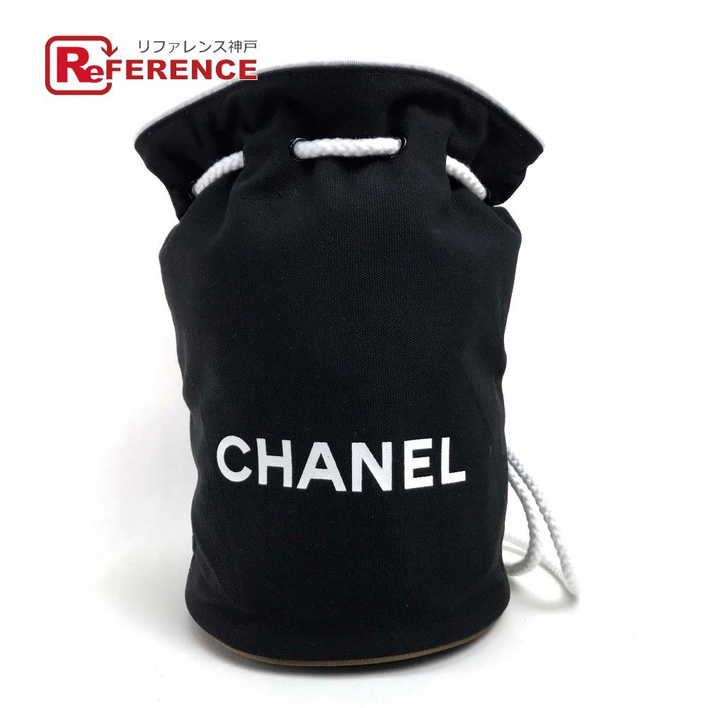 CHANEL シャネル ワンショルダーバッグ バックパック リュックサック ロゴ 巾着 ショルダーバッグ キャンバス ブラック レディース 未使用【中古】