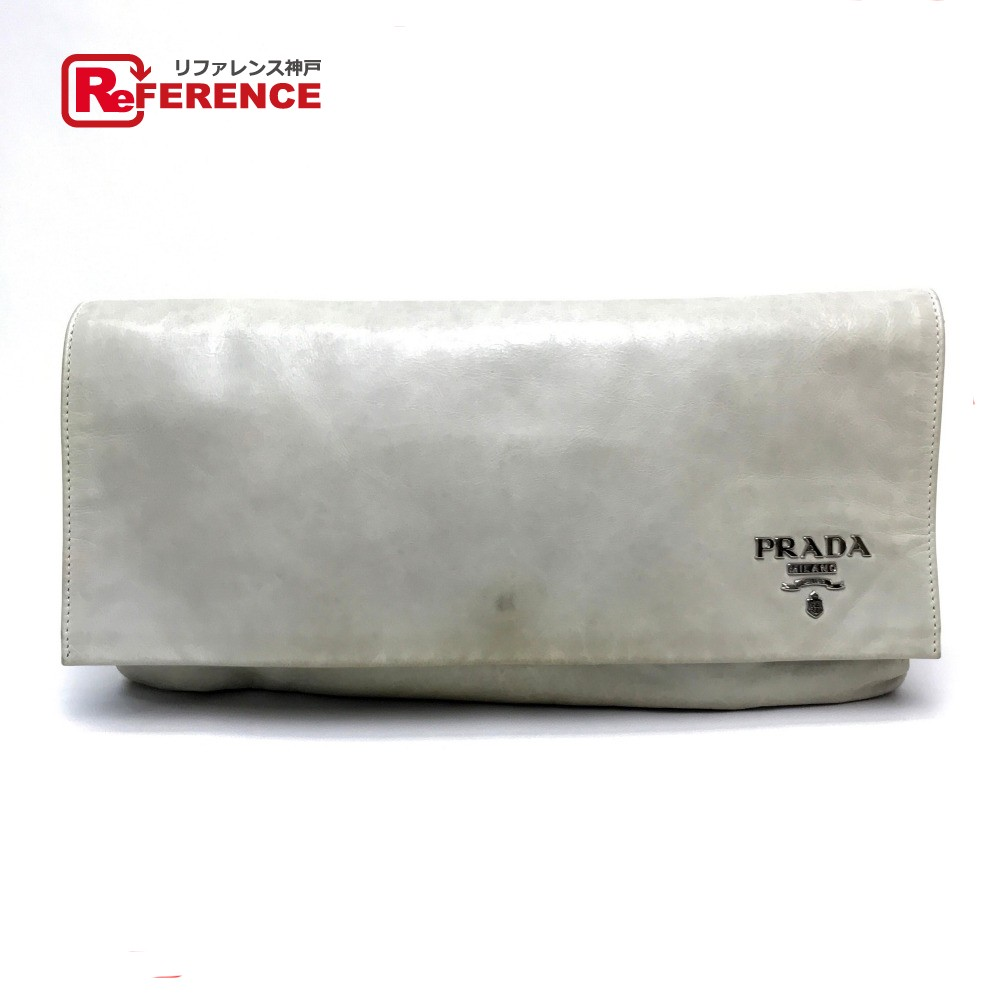 PRADA プラダ BP0161 二つ折り ロゴ メンズ レディース クラッチバッグ レザー アイボリー系 ユニセックス【中古】