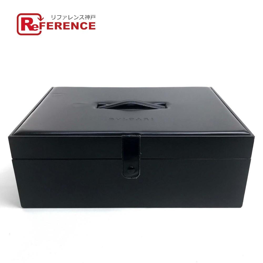 BVLGARI ブルガリ 大型コレクションボックス メイクボックス 収納 小物入れ メンズ レディース ハンドバッグ レザー ブラック ユニセックス【中古】
